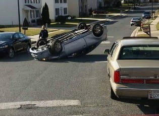 Treadway Overturned Vehicle