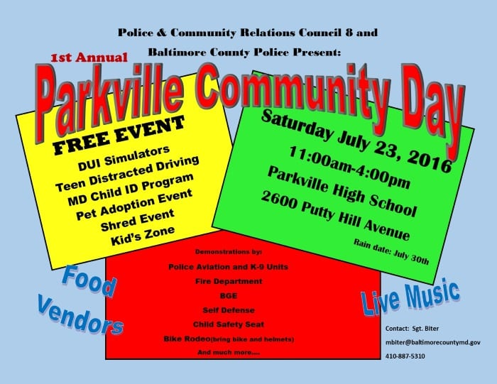 Parkville Community Day Flyer