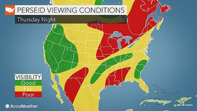 Perseid Meteor Shower 2016 Viewing Conditions Map