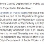 Middle River water main test could affect pressure this week