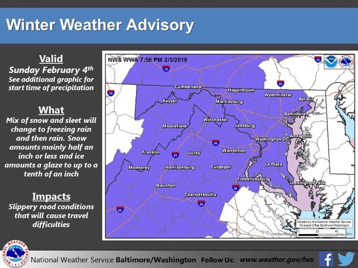 Winter Weather Advisory Baltimore 20180204
