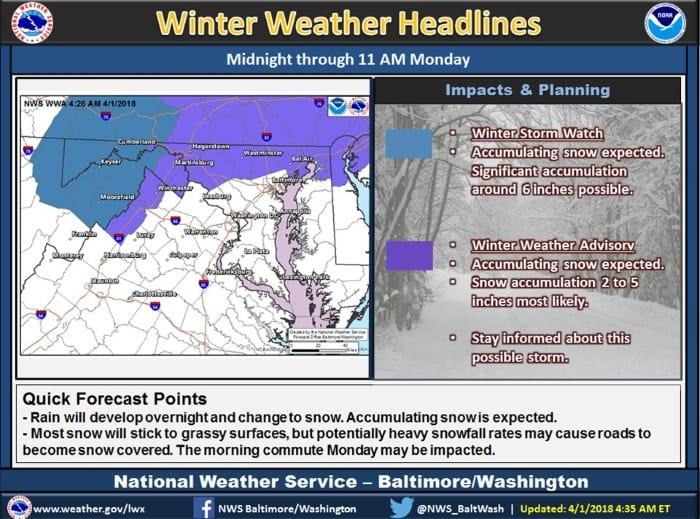 Winter Weather Advisory Maryland 20180402