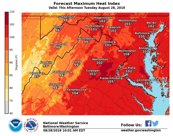 Heat Index Baltimore 20180828