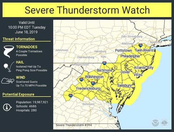NWS Severe Thundestorm Watch Baltimore 20190618