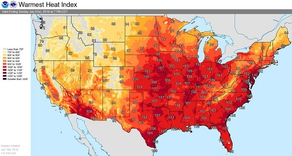 NWS Heat Index Baltimore 201907
