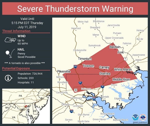NWS Thunder Storm Warning Baltimore 20190711